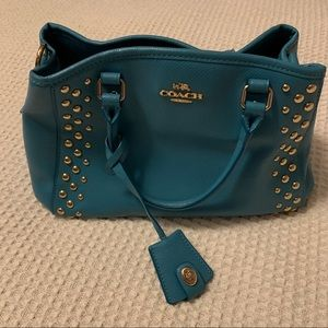 Coach Gold Studded Purse Turquoise